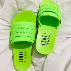 Fenty by Rihanna neon green slides